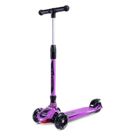 carbon otroski skiro s svetlecimi kolesi purple