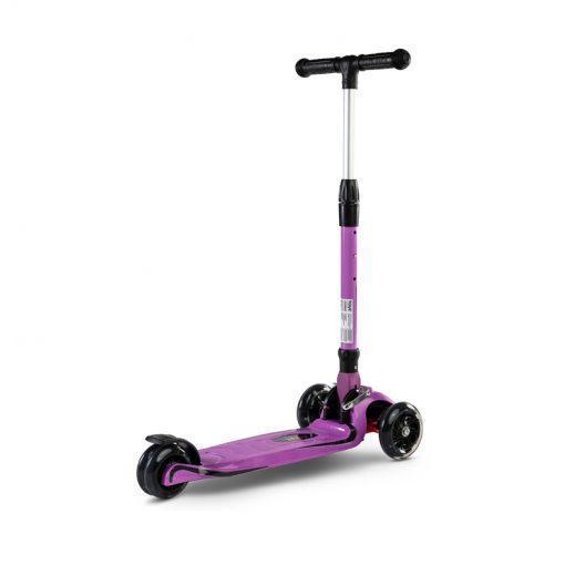 carbon otroski skiro s svetlecimi kolesi purple4