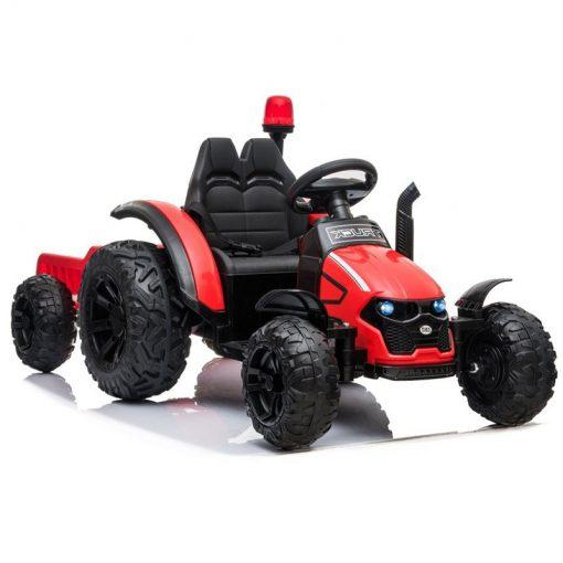 traktor na akumulator s prikolico rdeci minilu