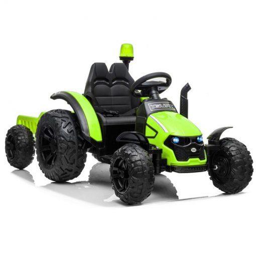 traktor na akumulator s prikolico zeleni
